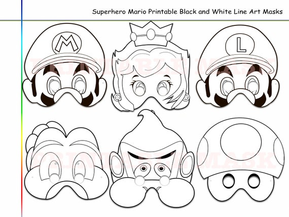 Coloring Pages Superhero Mario Printable Black And White Line