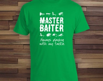 Master Baiter t-shirt for fishermen, Fishing Trip Weekend, summer t-shirt, lucky fishing t-shirt, gifts for him, mens t-shirt - CT-067