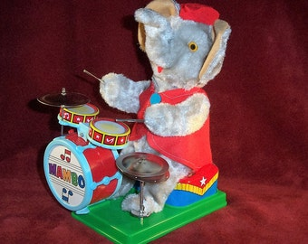 "Vintage Alps Toy, Japan ""Mambo the Drumming Elephant"" Battery Operated Toy MINT Condition Works"