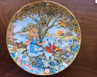 Collectible China plate Alice and the White Rabbit