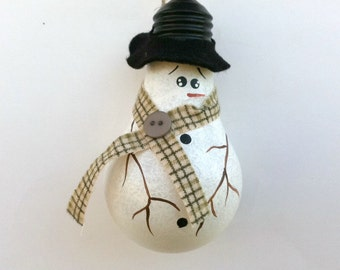 Snowman Ornament, Christmas Décor, Light Bulb, Snowman Décor, Rustic Christmas, Primitive Ornament, Winter, Tree Ornament, Hand Painted