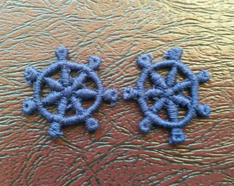 2 BLUE Ship Wheel Applique Sew On Patch 1 Inch Wide