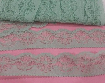 2 Yards GREEN Lace Trim Flower Design Yellow Pink and Green Lace Trim 1 Inch Wide