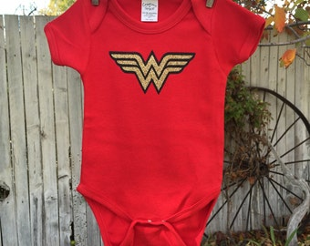 Wonder Woman Inspired Glitter Toddler/Youth Tee or Onesie.