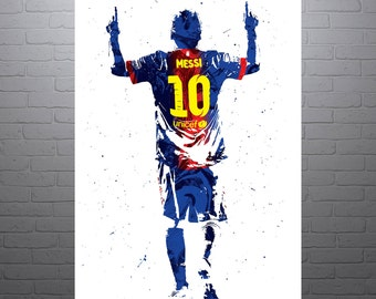 Lionel Messi Barcelona Soccer Poster, Sports Art Print, Football Poster, Watercolor Contemporary Abstract Drawing Print, Modern Art
