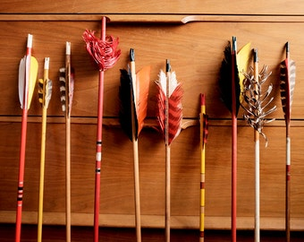Vintage Painted Wood Arrows set of 10 with oversized feathers