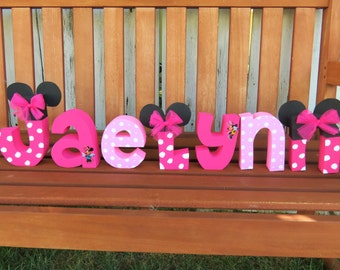 Custom-made Minnie Mouse wood name letters - wood letters - wood name letters - minnie mouse letters - minnie mouse decor - PRICE PER LETTER