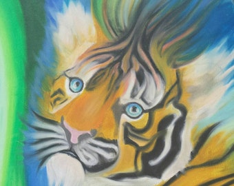 """Original Oil Pastel work on a 16 in. X 20 in. Stretched Canvas. """"Fading Out""""."""