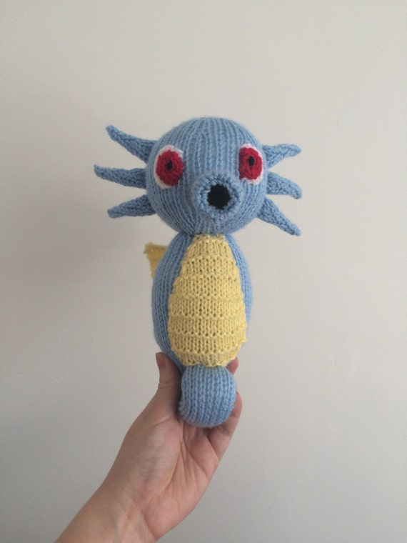 Horsea pokemon knitting pattern plushie toy childrens soft toy amigurumi knit knitted pdf download
