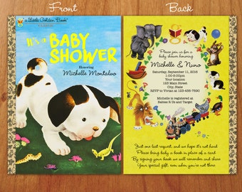 Poky Little Puppy Little Golden Book inspired Baby Shower invitation with front and back cover and optional bookplate