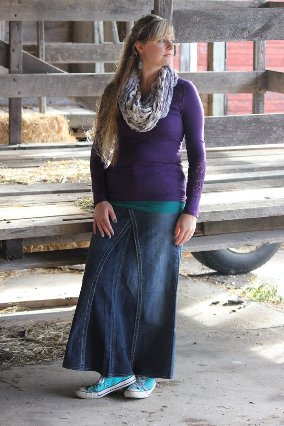 Modest Modern Denim Skirt Ankle Length Ladies Sizes 1 14