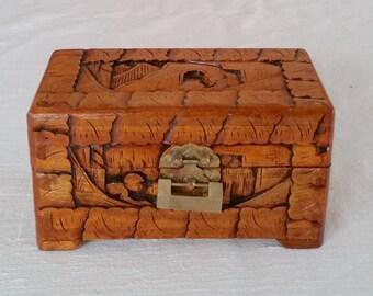 Vintage carved wooden chinese japanese oriental asian box decorative box small storage keepsake trinket wood box