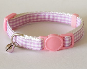 GINGHAM LAVENDER - Small Lavender Purple and White Cat Collar with Bell and breakaway buckle