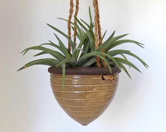 Petite Ceramic Hanging Planter, Rustic Planter, Perfect for Air Plants and Succulents, Indoor Pottery Planter, Stoneware Pot, Herb Planter