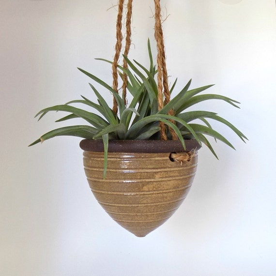 petite ceramic hanging planter rustic planter perfect for. Black Bedroom Furniture Sets. Home Design Ideas