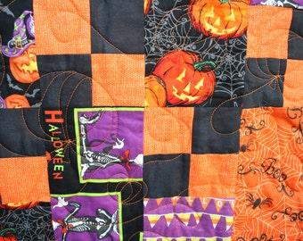 Halloween Lap or Toddler Quilt - Orange, Black, Purple and Green