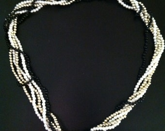 "Black,White,Gold Small Faux Pearl 12"" Necklace"