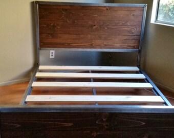Modern Metal Bed Frames modern bed frame | etsy