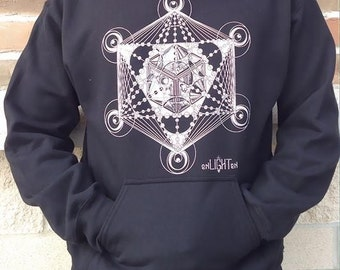 Metatrons cube hoodie. Sacred geometry clothing by Enlighten clothing company