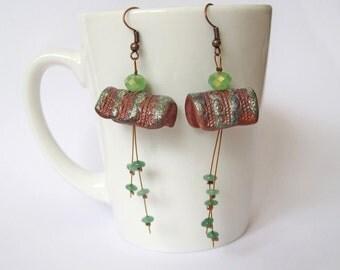 Brown green polymer clay earrings, Dangle earrings, Boho style