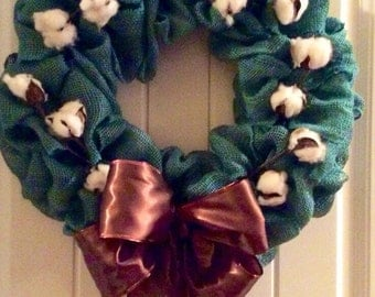 Cotton bale wreath