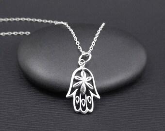 Hamsa Hand Necklace Sterling Silver Hamsa Hand Filigree Charm Pendant, Small Silver Hamsa Necklace, Hamsa Jewelry