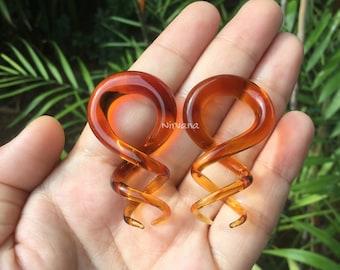 """1 Pair (2 Pieces) Amber Cork Screw Spirals 10g 8g 6g 4g 2g 0g 00g 7/16"""" 1/2"""" 9/16"""" 5/8""""  2.5 mm 3 mm 4 mm 5 mm 6 mm 8 mm 10 mm 12 mm - 16 mm"""