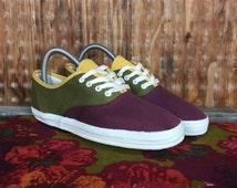 Vintage, VTG, Dead Stock, Women's Shoes, 90's ESPRIT Canvas Shoes Sz. 8 Multi-Color Women Sneakers Kicks