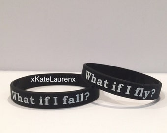 What if I fall? What if I fly? (Inspirational quote) bracelet