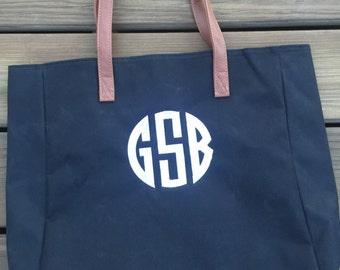 Monogrammed Tote/Monogrammed Bag/ Bride Bag/ Game Day Bag/ Monogrammed Shoulder Bag