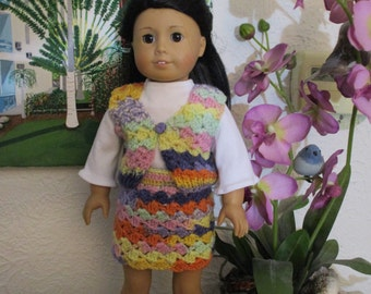 American girl doll top vest and skirt
