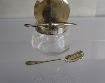 Electroplated Nickle Silver, EPNS, Made in England, Very Strong, Sugar Bowl with Lid That Fits Spoon, Spoon is Included, Matching Set, NICE
