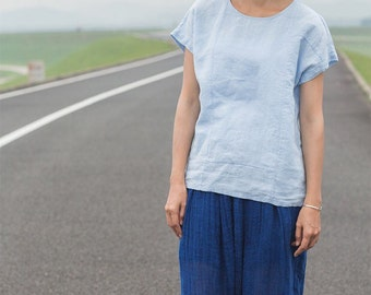 Blue linen patch tops BonLife
