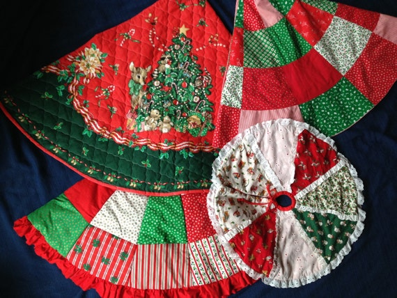 Vintage christmas tree skirt patchwork green red by