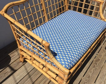 SOLD//Vintage Rattan Loveseat