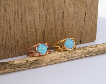 Opal ring 8mm gold plated (adjustable)