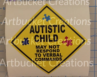 Autistic Child on Board Car Alert Decal