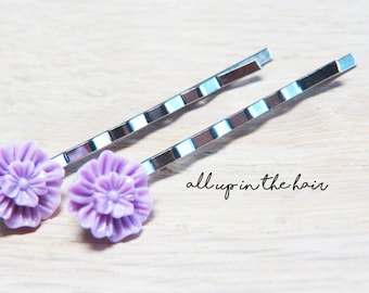 Purple Hair Pins - Flower Bobby Pins - Purple Mum Bobby Pins