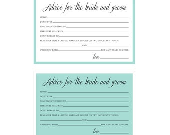 INSTANT DOWNLOAD - Printable Advice for the Bride and Groom Cards (2 designs) - Bridal Shower - Something Blue