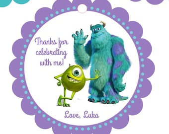 Monster's Inc party favor tags, Sulley, Sully, Mike Party Favor Tags, Baby Monsters, Monsters Inc Birthday tags, Monsters Inc Baby Shower
