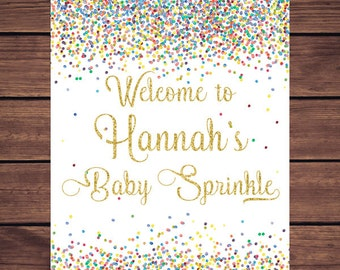 Confetti Baby Shower Welcome Sign, Confetti Gold Baby Shower Welcome Sign Printable, Baby Sprinkle Welcome Sign Digital Print PDF