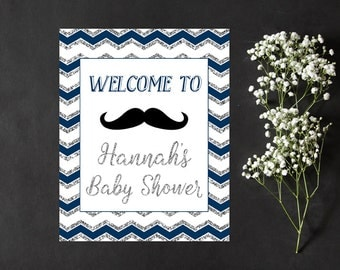 Navy and Silver Baby Shower Welcome Sign, Baby Shower Welcome Sign Printable, Moustache Mustache Baby Sprinkle Welcome Sign Printable