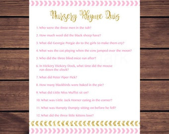 Pink and Gold Nursery Rhyme Quiz Baby Shower Game, Nursery Rhyme Baby Shower Game, Pink and Gold Arrows Instant Download PDF Printable