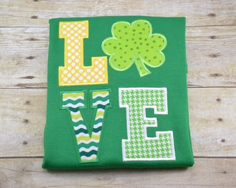 St. Patrick's Day Love Clover Shirt boy girl kid child baby toddler infant embroidery applique custom monogram name personalized saint patty