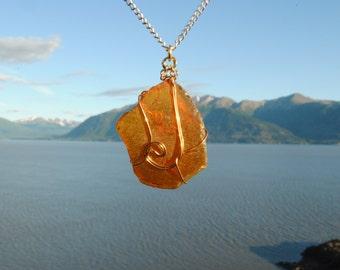 Alaskan Brown Sea Glass Pendant