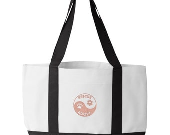 Rescue Adopt Yin Yang Tote Bag. Embroidered Animal Rescue Tote. Dog Rescue Tote Bag. Animal Lover Tote. 7002