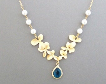 Triple, Orchid, Personal, Color, Stone, Gold, Silver, Necklace, Flower, Jewelry, Anniversary, Party, Wedding, Gift, Accessories, Jewelry