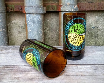 Upcycled Pint Glass from Blackhorse Brewery Tennessee Ale Craft Beer Bottle - Set of Two