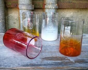 Repurposed Drinking Glass Gift Set, Four Recycled Ciroc Vodka Liquor Bottle Rocks Glasses