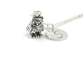HEAVY 3d OWL Initial Necklace in Sterling Silver
